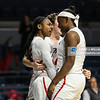Mississippi's Alissa Alston (25) reacts after making a shot to tie the game at the end of the first overtime against the Florida Gators.