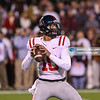 Ole Miss' Jordan Ta'amu (10) prepares to the ball against the Mississippi State Bulldogs on November 23, 2017 At Davis Wade Stadium.