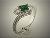 14K white gold custom diamond mounting for customers emerald cut emerald, by Ron Litolff