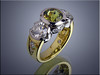 18K two-tone lady's ring set with chrysoberyl by Clay Zava and 2 side diamonds