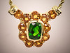 14K yellow gold mounting for cushion shaped tourmaline surrounded by round citrines by Tim Frank