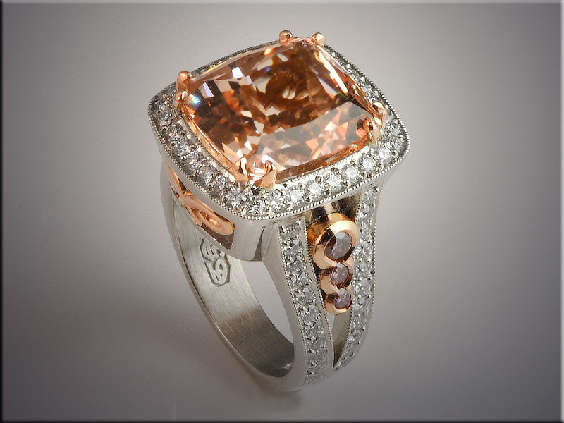 p500<br /> 14K White and Rose Gold Morganite and Ideal Cut Diamond Ring with Pink Diamonds, design by Ron Litolff.  Morganite by Clay Zava Mastercuts