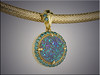 14K custom pendant and bail set with druzy quartz and blue diamonds