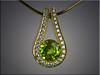 14K diamond pendant set with ideal cut diamonds and sphene by Clay Zava