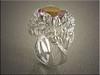 14K white gold free form, botanical design set with mystic topaz