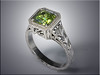 p527<br /> 14K white gold green sapphire ring in antique style mounting with hand engraving.  Designed and made by Tim Frank.