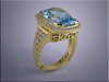 18K yellow gold lady's aquamarine ring with accent diamonds, hand engraved