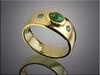 14K yellow gold opal and blue diamond band