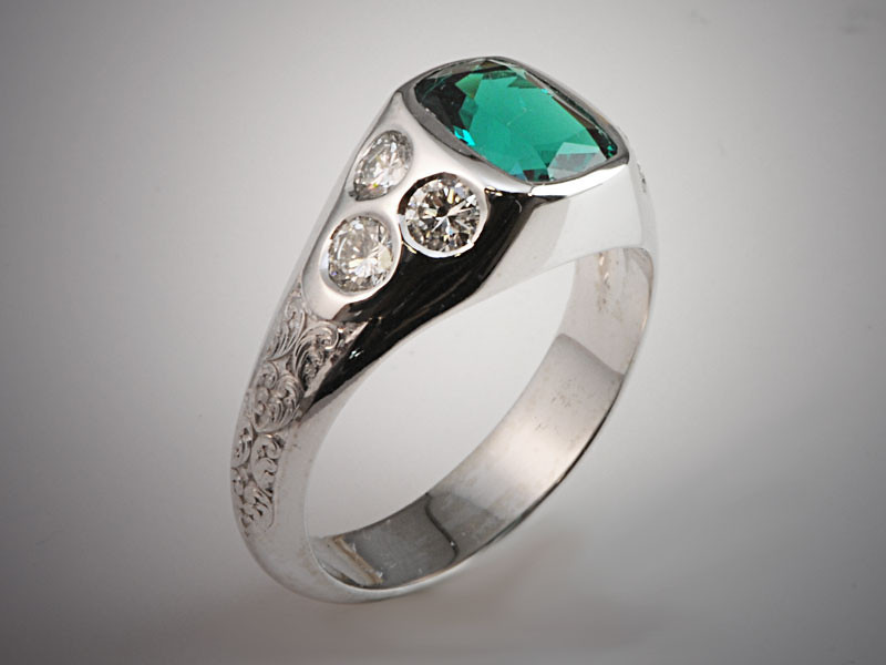 14K White Gold Gents Cushion Shaped Emerald with Diamond Accents and  Hand Engraved Pattern