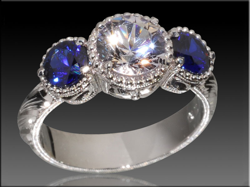 14K diamond and sapphire ring with hand engraving