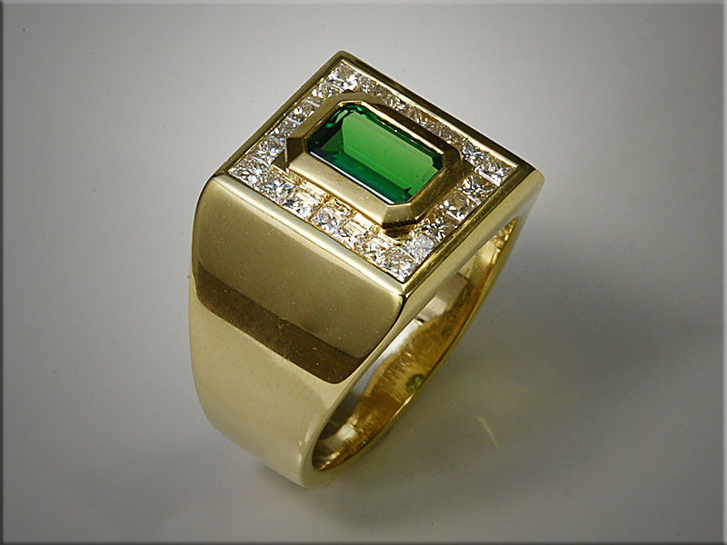 14K Yellow Gold Gents Tsavorite Ring, Emerald Cut, Surrounded by Princess Cut Diamonds.  By Tim Frank
