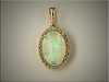 Custom halo style mounting for beautiful oval shape opal, by Tim Frank