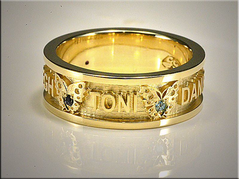 14K Yellow Gold Family Ring with Birthstones Set in Butterfiles between Children