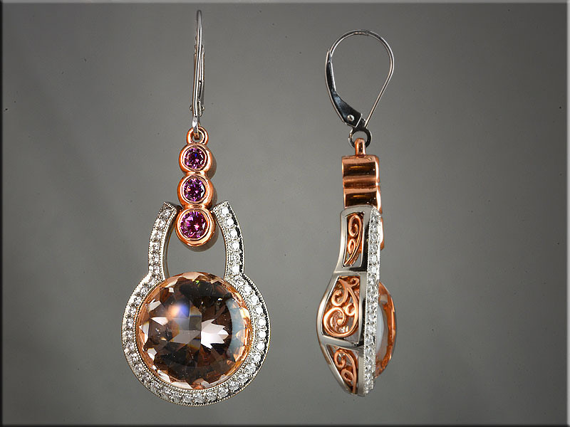 p506<br /> 14K White and Rose Gold Morganite Earrings with Ideal Cut Diamonds, Pink Diamonds, design by Ron Litolff.  Morganite by Clay Zava Mastercuts
