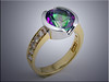 14K two tone bezel set ring set with round mystic topaz and accent diamonds