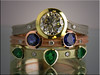 18K white, yellow, rose and green gold stackable rings set with diamonds, sapphires and emeralds
