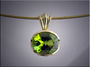 14K yellow gold bezel set peridot