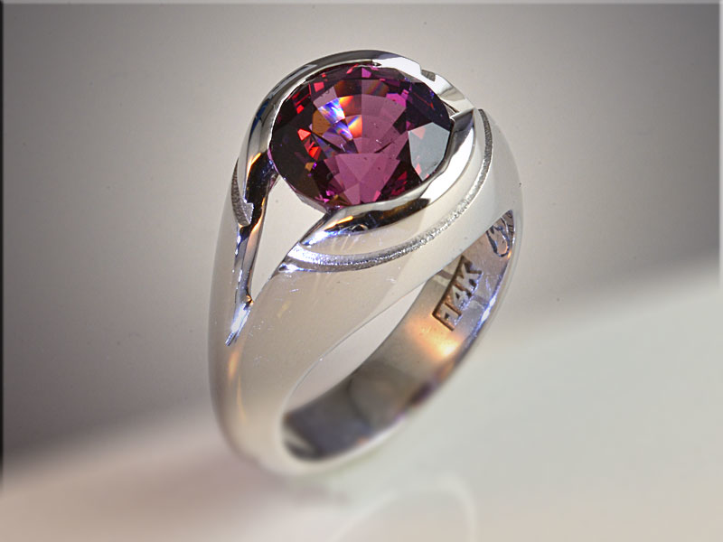 p492<br /> 14K White Gold Gents Purple Spinell Ring.  Stone by Clay Zava Mastercuts.