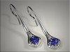 14K White Gold Custom Earrings set with Cushion Shaped Tanzanites and Diamonds.  Designed and made by Ron Litolff