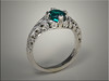 14K White Gold Custom Vintage Scroll Ring with Emerald in Center.  Designed, Made and Engraved by Ron Litolff