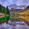 Winter and snow on Maroon Bells Aspen