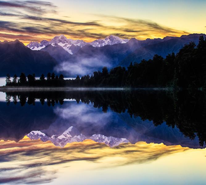 Sunrise over Lake Matheson
