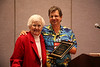 Marj Carpenter receives the 2007-2008 David Steele Distinguished Writer Award from Jerry Van Marter, Presbyterian Writers Guild Vice President