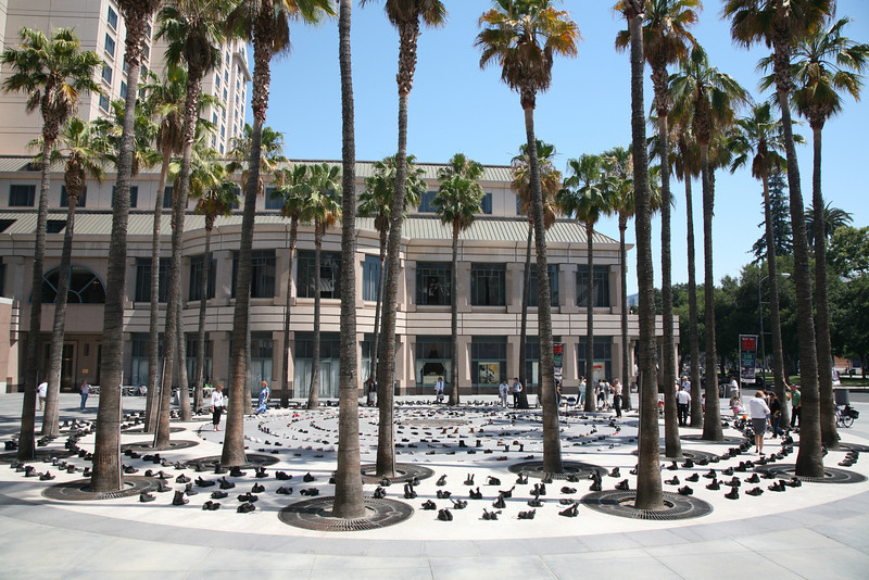 """Circle of Palms"" in San Jose.<br /> <br /> Eyes Wide Open is an exhibit of the costs of war which features a pair of boots honoring each US military casualty from California and a labyrinth of civilian shoes to memorialize the Iraqis killed in the conflict."