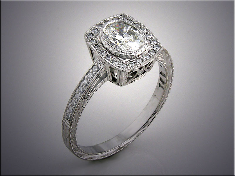 14K white gold custom engagement ring with bezel set center, accent diamonds and hand engraving