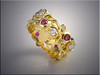 18K yellow gold band with twisting vines set with ideal cut diamonds and rubies