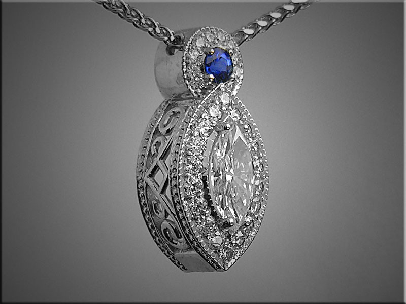 14K white gold marquise diamond pendant with diamond and sapphire accents