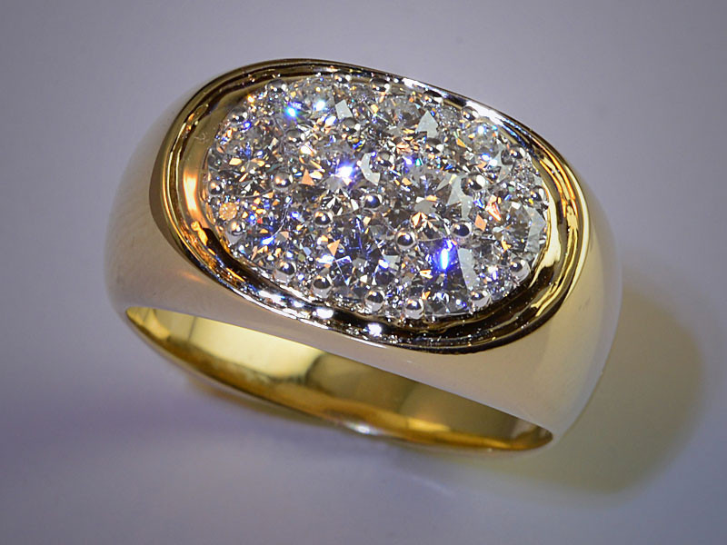 """p491<br /> 14K White and Yellow Gold Cluster Gents Refurbishment set with """"Super Cluster"""" Suite of Ideal Cut DIamonds."""