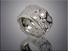 14K white gold free form ring with diamonds flush set