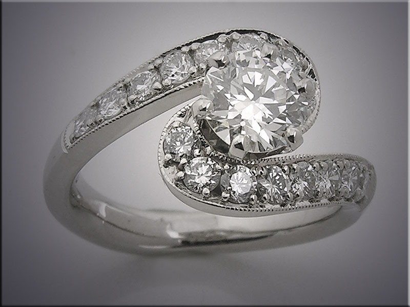14K white gold customer's diamond remount, bypass style