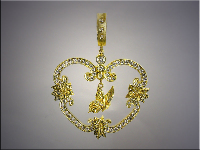 18K diamond pendant with hand carved flowers and bird