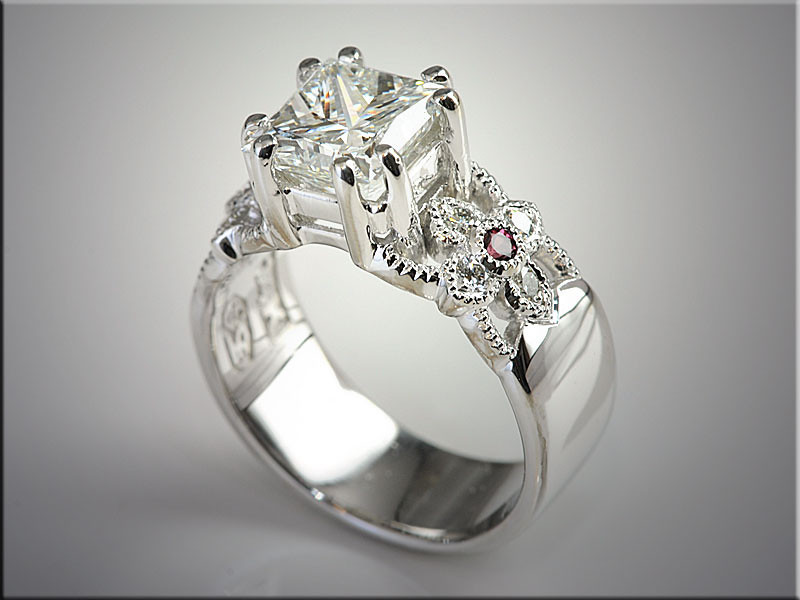 p498<br /> 14K White Gold Floral Design Engagement Ring with Diamonds and Rubies