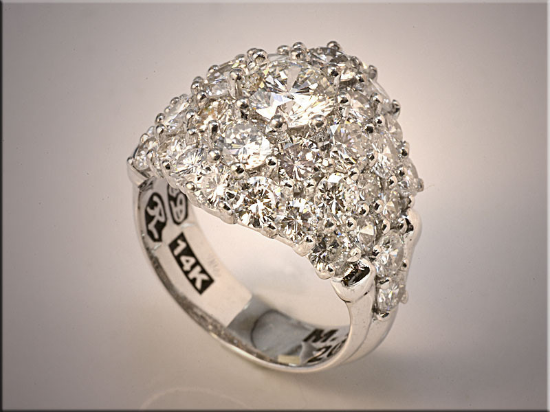 p520<br /> 14K White Gold SuperCluster of Diamonds.  Designed and made by Ron Litolff.