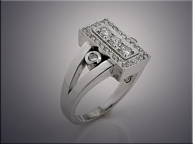 14K white gold customer's diamonds remount