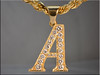 p513<br /> 14K Yellow Gold Initial Pendant Set Bead and Bright Cut Style.  Made by Ron Litolff.