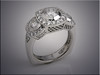 14K white gold lady's engagement ring, triple halo set diamonds