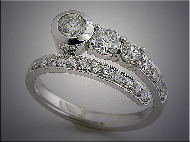 14K white gold bypass ring set with customer's diamonds