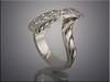 14K white gold freeform pendant set with customer's diamonds, hand engraved