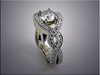 14K white gold engagement ring with woven crossover european shank