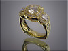 18K yellow gold lady's ring with diamonds, hand engraved