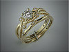 14K yellow gold custom wedding set, floral design from customers request.  Made by Ron Litolff