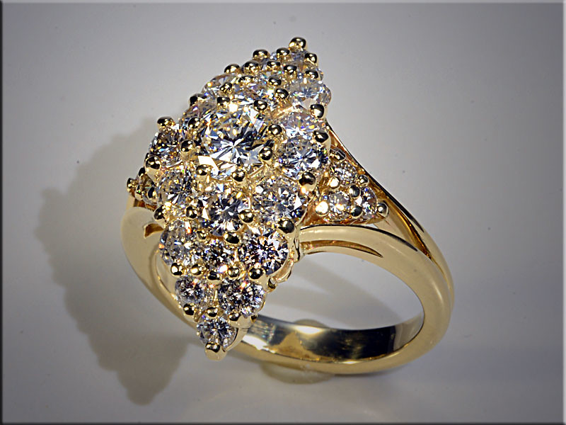 14K Yellow Gold Super Cluster using customer's diamonds. Designed and made by Ron Litolff