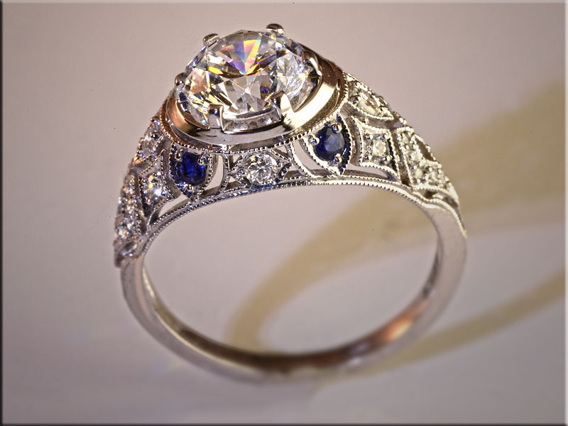 p497<br /> 14K White Gold Vintage Open FIligree Style Ring for Remount of Customers Diamonds and Sapphires.