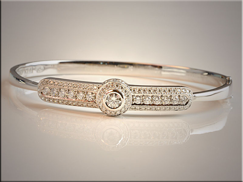p512<br /> 14K White Gold Ideal Cut Diamond Cuff Style Bracelet.  Mady by Ron Litolff
