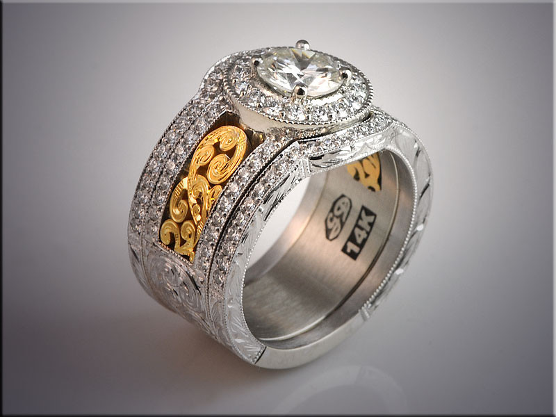 p503<br /> 14K Two-Tone Diamond Engagement Ring with Engraved Panel and Fitted Diamond Bands, design by Ron Litolff