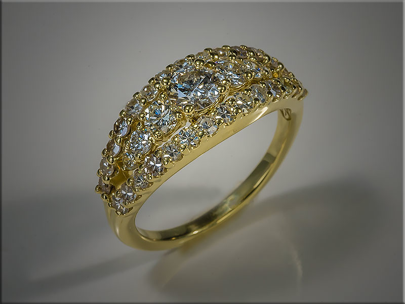18K Yellow Gold custom remount of diamonds from an antique watch.  Designed and made by Ron Litolff